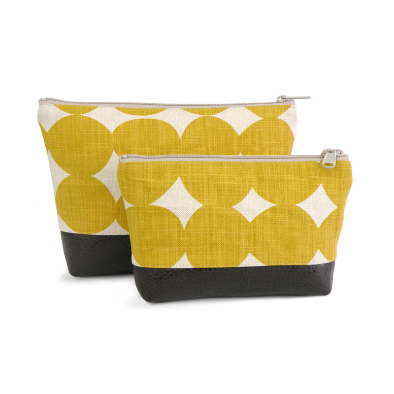 Cosmetic Clutch in Yellow Dots