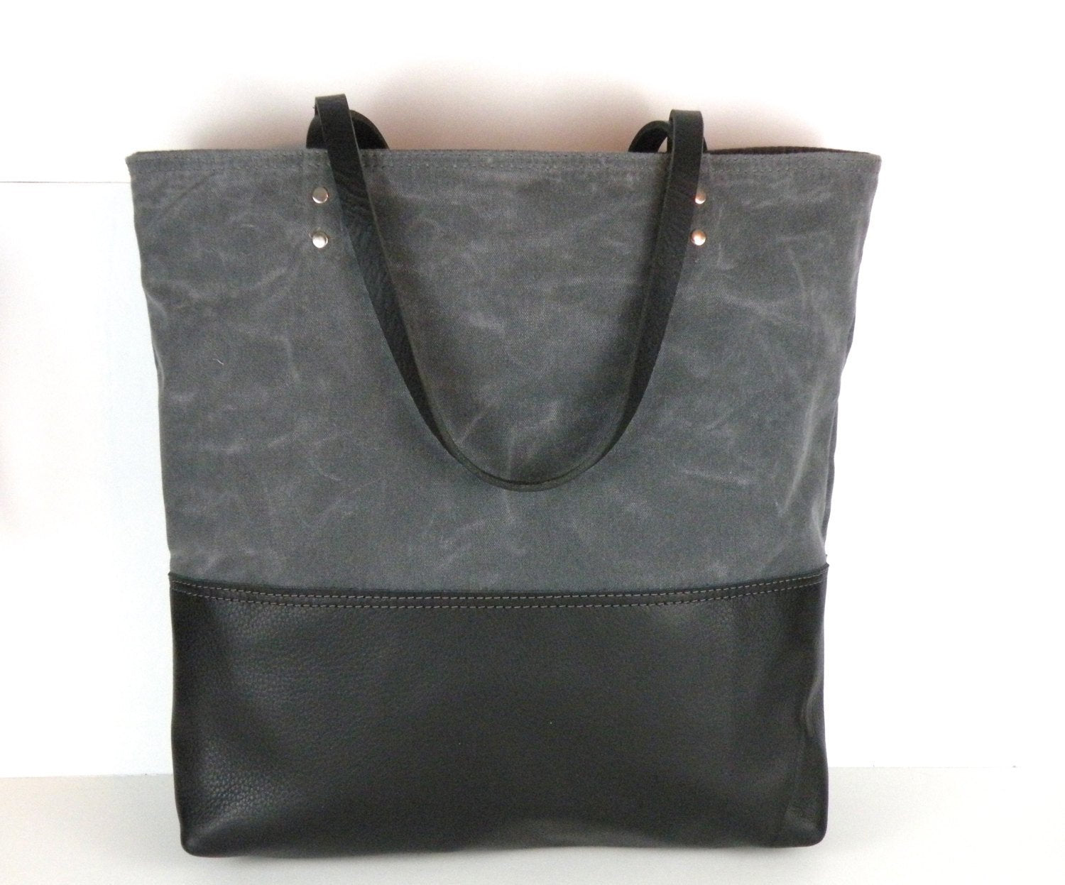 Urban Tote in Charcoal Grey Waxed Canvas and Black Leather