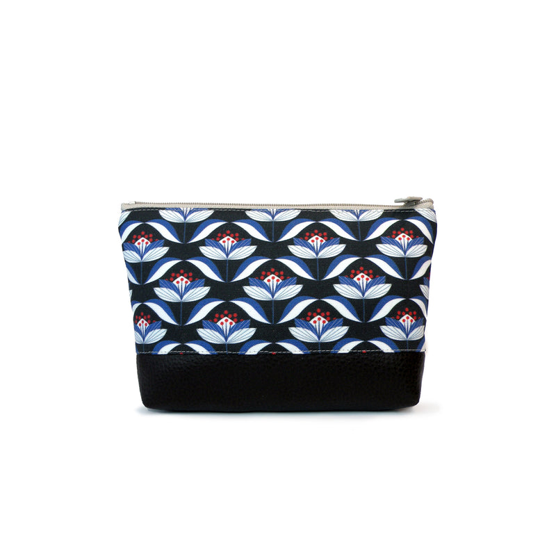 Cosmetic Clutch in Black and Navy Floral