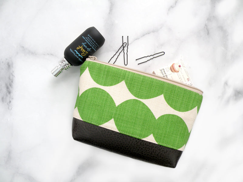 Cosmetic Clutch in Green Dots