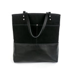 Urban Tote in Black Waxed Canvas and Black Leather-Red Staggerwing