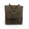 Urban Tote in Chocolate Brown Waxed Canvas and Distressed Leather-Red Staggerwing