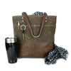 Urban Tote in Chocolate Brown Waxed Canvas and Distressed Leather