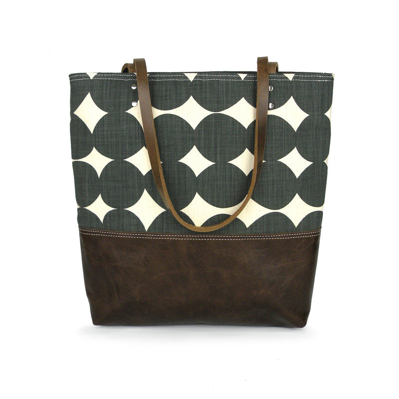 Urban Tote in Charcoal Dot and Distressed Leather