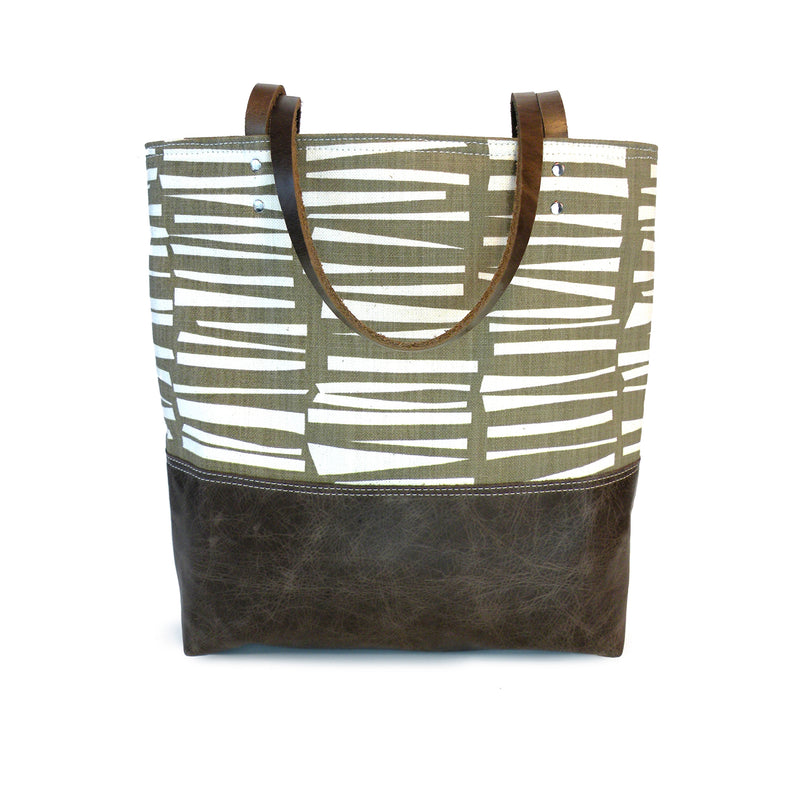 Urban Tote in Cocoa Woodpile Print and Distressed Leather