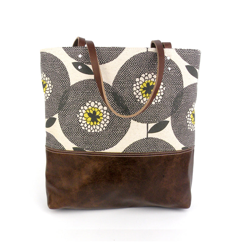 Urban Tote in Flowerfields Print and Distressed Leather-Red Staggerwing