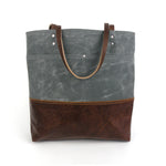Urban Tote in Charcoal Grey Waxed Canvas and Distressed Leather-Red Staggerwing