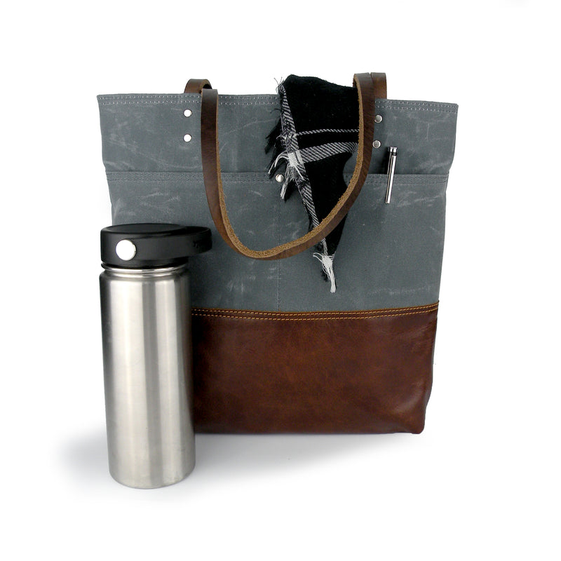 Urban Tote in Charcoal Grey Waxed Canvas and Distressed Leather
