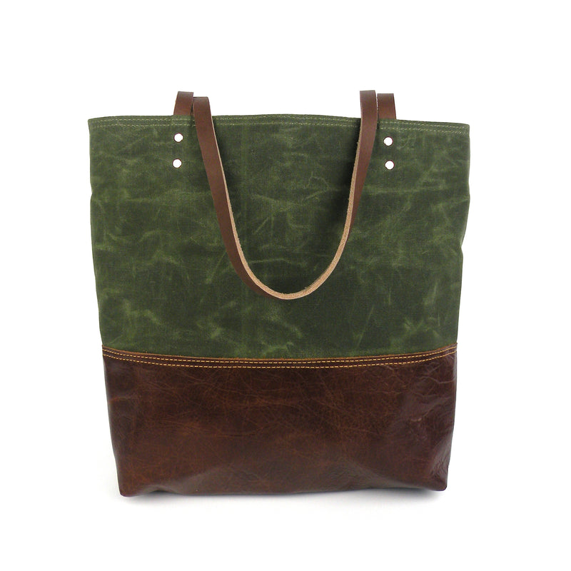 Urban Tote in Olive Green Waxed Canvas and Distressed Leather-Red Staggerwing