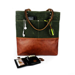 Urban Tote in Olive Green Waxed Canvas and Distressed Leather