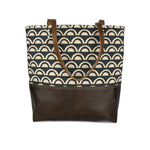 Urban Tote in Navy Scallops and Distressed Leather