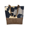 Urban Tote in Navy Silver Canvas and Distressed Leather