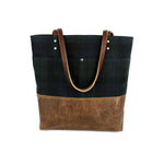 Urban Tote in Blackwatch Plaid Waxed Canvas and Distressed Leather