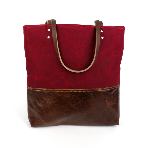 Urban Tote in Red Waxed Canvas and Distressed Leather-Red Staggerwing