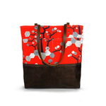 Urban Tote in Red Orange Print and Distressed Leather