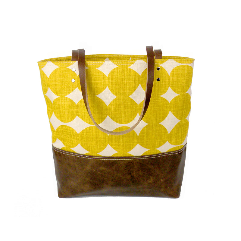 Urban Tote in Yellow Dots with Distressed Leather-Red Staggerwing