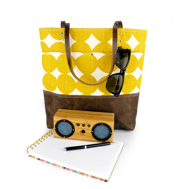 Urban Tote in Yellow Dots with Distressed Leather