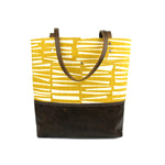 Urban Tote in Yellow Woodpile and Distressed Leather