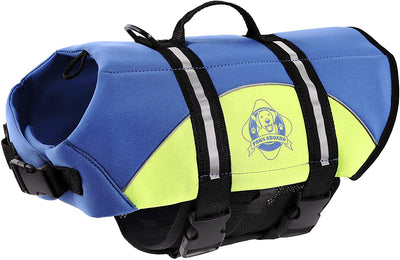 Yellow/Blue Neoprene Dog Lifejacket
