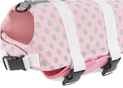 Paws Aboard Pink/Gray Polka Dot Neoprene Dog Life Jacket