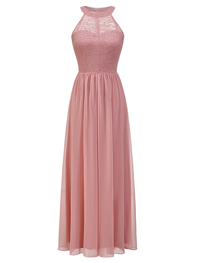 Wedtrend Halter Floral A-Line Scoop Neck Floor Length Chiffon Junior Bridesmaid Dress with Lace
