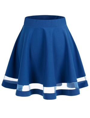 Wedtrend Women's Basic Versatile Stretchy A-line Flared Casual Mini Skater Skirt Blue Color