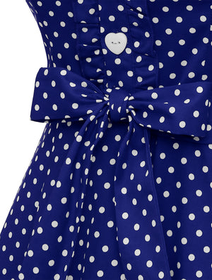 Wedtrend White Dot Women's 1950s Retro Rockabilly Blue Dress Cap Sleeve Vintage Swing Dress