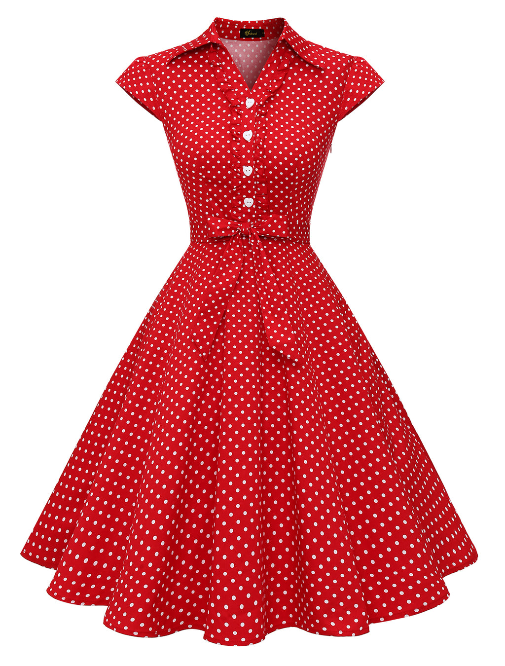 Red Black Dot/Red White Dot Women's 1950s Retro Rockabilly Bow-knot Dress Wedtrend Cap Sleeve Vintage Swing Dress