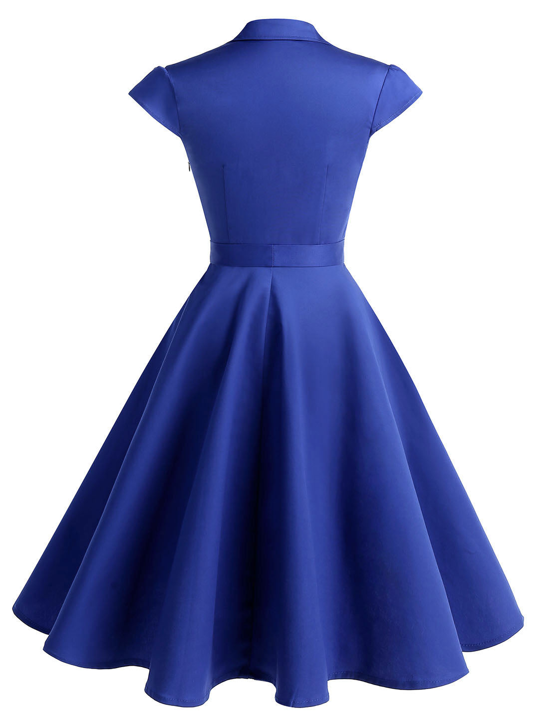 Wedtrend Women's 1950s Retro Rockabilly Dress Cap Sleeve Vintage Swing Dress Navy Royal Blue Color