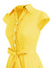 Wedtrend Women's 1950s Retro Rockabilly Dress Cap Sleeve Vintage Swing Dress Yellow Turmeric Color
