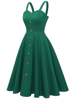Women's 1950s Vintage Sleeveless A-Line Casual Button Down Party Swing Cocktail Dress
