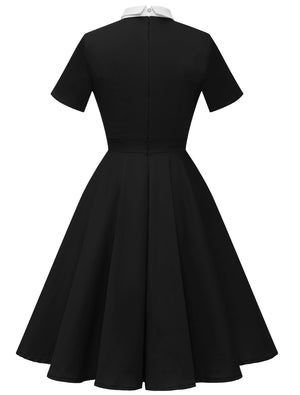 Women's 1950s Vintage Peter Pan Collar Short Sleeve Flare Cocktail Dress