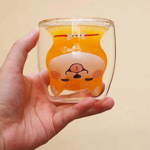 Shiba Inu Shaped Double Wall Glass Mug