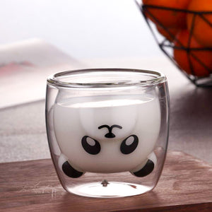 Panda Shaped Double Wall Glass Mug