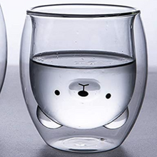 Load image into Gallery viewer, Polar Bear Shaped Double Wall Glass Mug