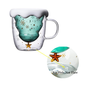 Christmas Tree Shaped Double Wall Glass Mug With Cover