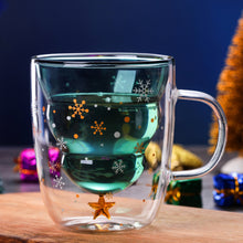 Load image into Gallery viewer, Christmas Tree Shaped Double Wall Glass Mug With Cover