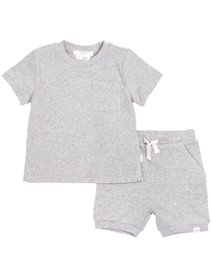 Petit Lem Ribbed Short Set Heather Grey