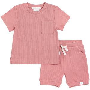 Petit Lem Ribbed Short Set Rose Pink