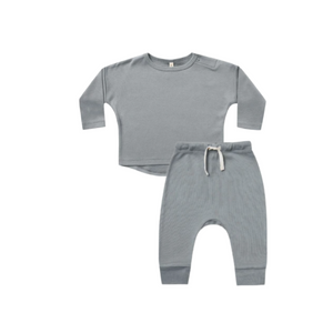 Quincy Mae Long Sleeve Baby Tee and Pant Set Ocean