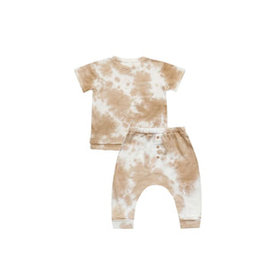 Rylee and Cru Almond Tie-Dye Raw Edge Tee and Drop Crotch Pants