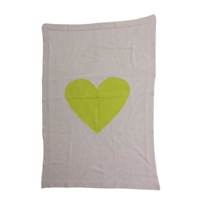 Merben Exclusive Collection - White/Yellow Heart Blanket