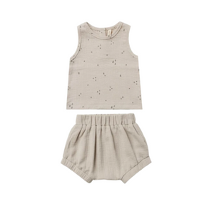 Quincy Mae Woven Tank and Short Set Ash