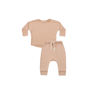Quincy Mae Long Sleeve Baby Tee and Pant Set Petal