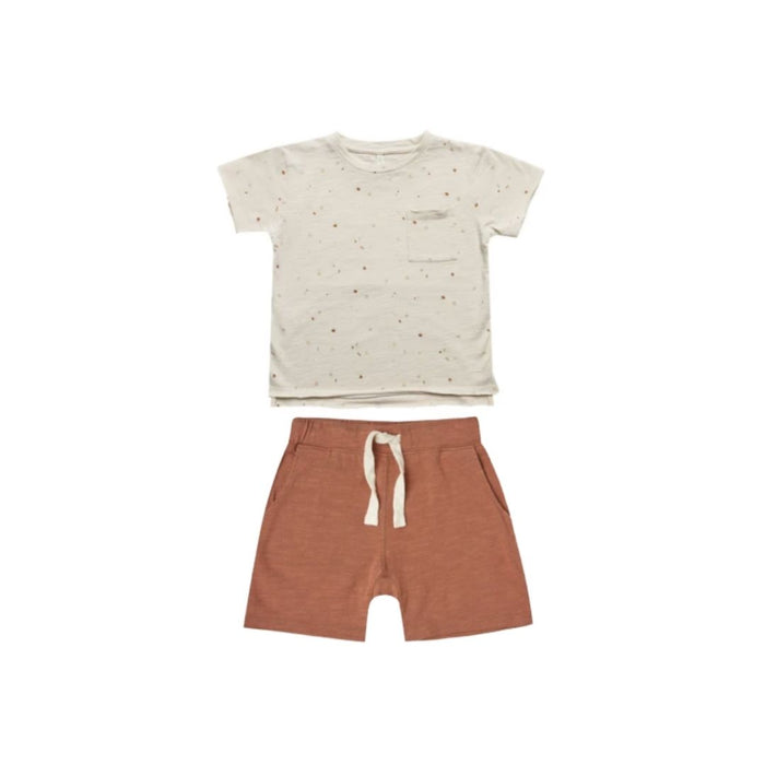 Rylee and Cru Silver Printed Raw Edge Tee and Short Set