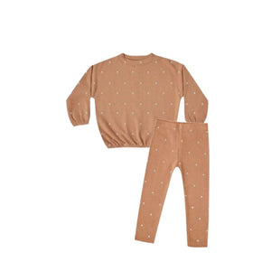 Rylee and Cru Slouchy Terracotta Printed Pullover and Legging Set