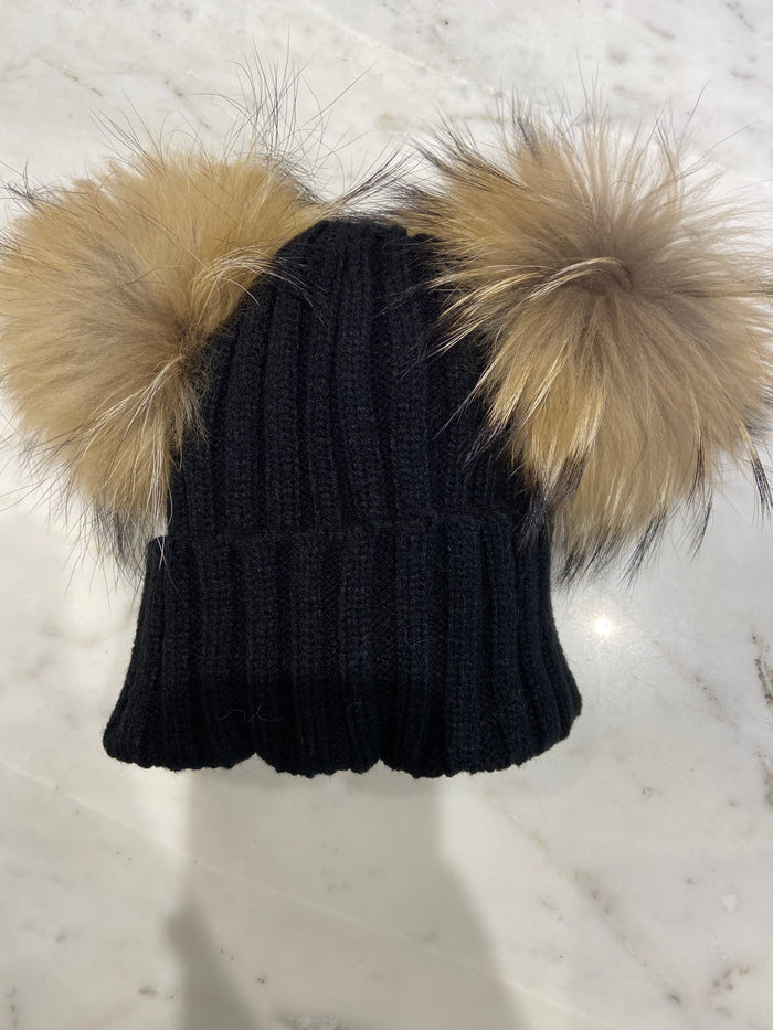 Fur Double Pom Hat Black with Natural Poms