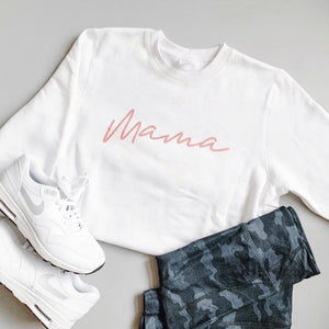 Cheeky Baby Adult Mama White and Rose Gold Crewneck