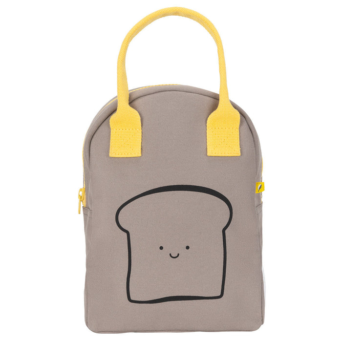 Fluf Happy Bread Grey Zippered Lunch Bag