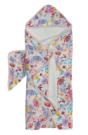 LouLouLollipop Hooded Towel and Washcloth Set Light Field Flowers